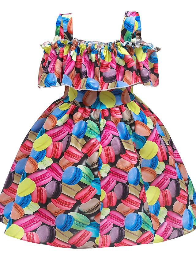 Kids Girls' Active Cute Patchwork Bow Sleeveless Knee-length Dress Rainbow