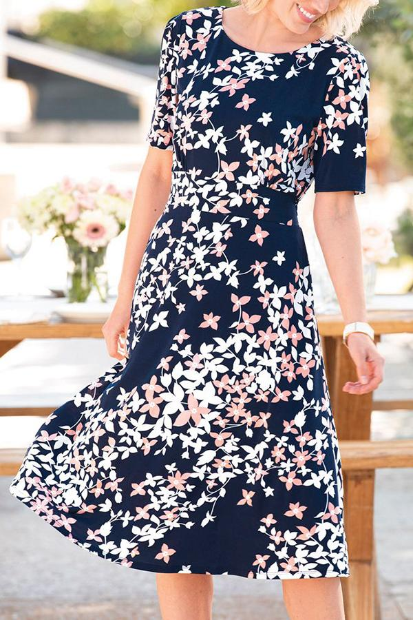 Floral Print Paneled Short Sleeves Elegant A-line Midi Dress