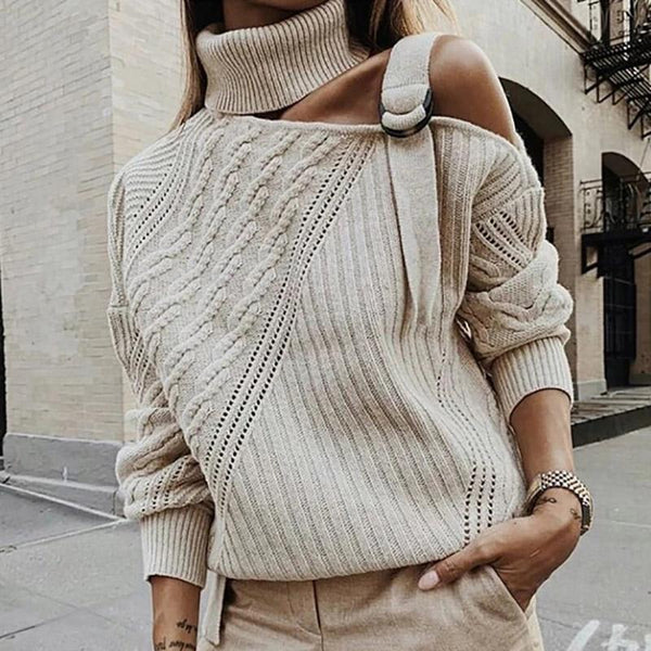 Single Shoulder Collar Casual Sweater