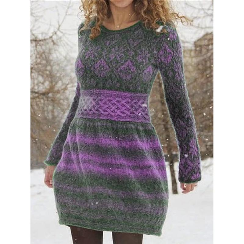 Women's Long Sleeve Printed Knit Casual Dress