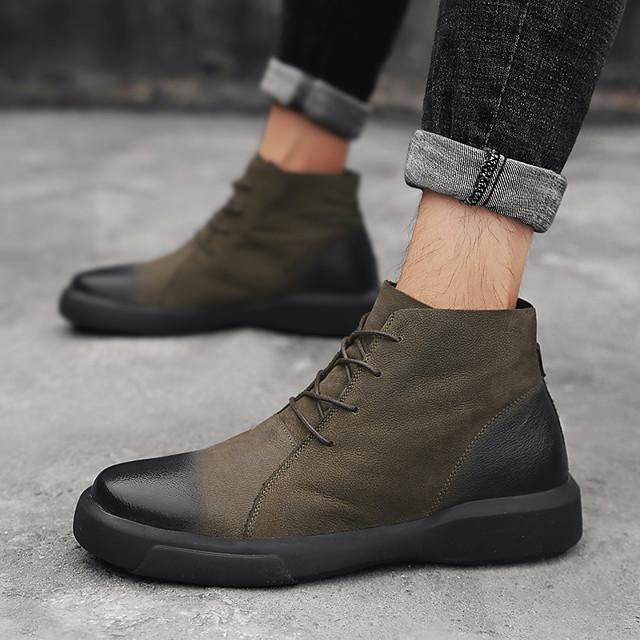 Men's Combat Boots Nappa Leather Spring & Summer / Fall & Winter Casual / British Boots Breathable Mid-Calf Boots Black / Khaki / Office & Career