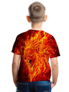 Kids Toddler Boys' Active Basic Lion Geometric Print Color Block Print Short Sleeve Tee Red / Animal