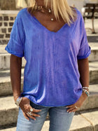 Plain Cotton-Blend V Neck Casual Shirts & Tops