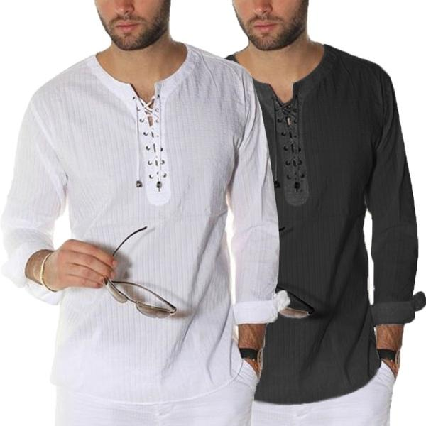 Fashion Men's Long Sleeve Solid Lace Up Pullover Shirt