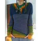 Striped Buttoned Color-block Knitted Sweater