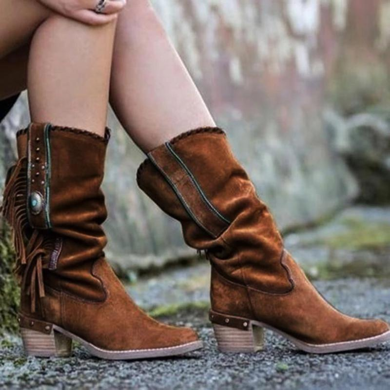 Women Fringed Suede Mid-calf Boots