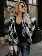 Plaid Lapel Cardigan Short Coat