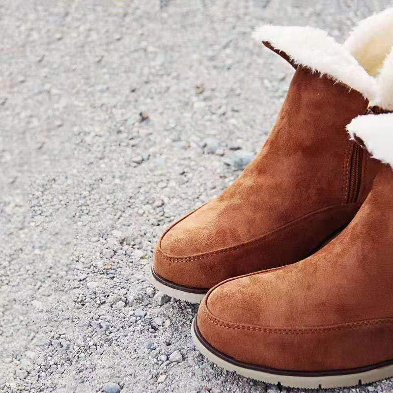 Round Toe Zipper Wedge Snow Boots