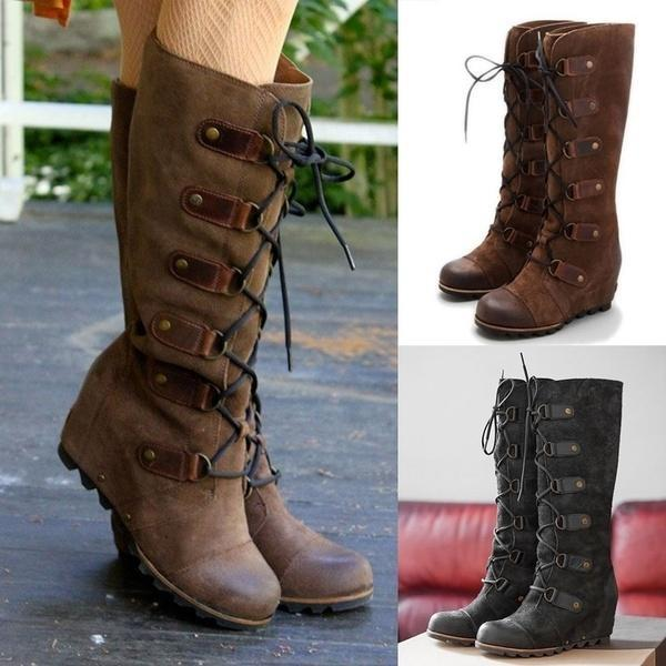 Plain Round Toe Date Outdoor Knee High Flat Boots