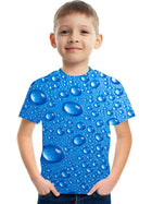 Kids Boys' Basic Street chic Color Block 3D Rainbow Print Short Sleeve Tee Blue