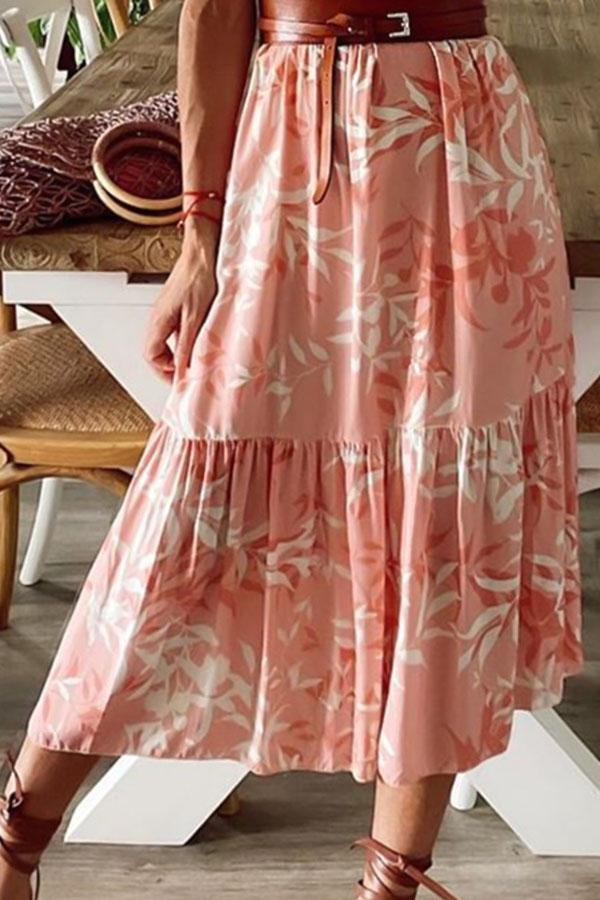 Holiday Leaf Print Paneled V-neck A-line Pleated Midi Dress