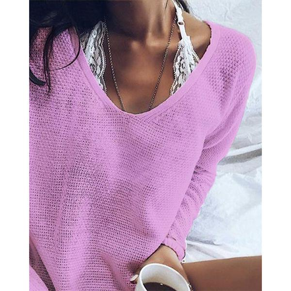 V Neck Casual Holiday Daily Pullover Sweater