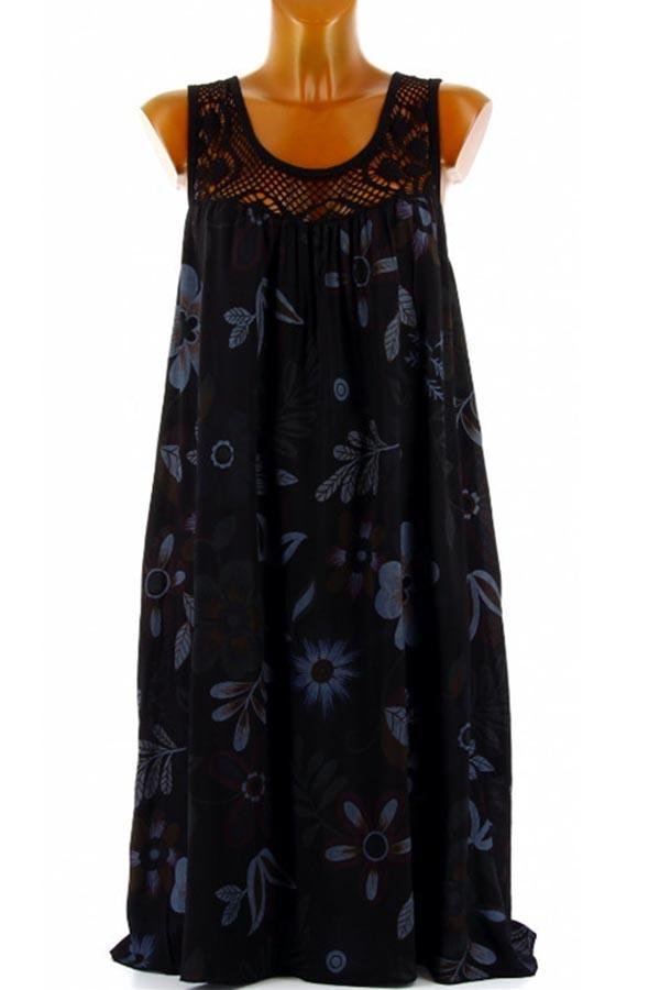 Paneled Lace Floral Print Holiday Hollow Out Sleeves Midi Dress