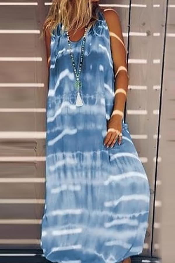 Gradient Print Crew Neck Sleeveless Holiday Maxi Dress