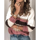 V?Neck Striped Casual Sweaters