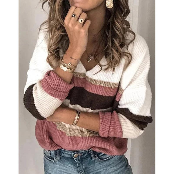 V Neck Striped Casual Sweaters
