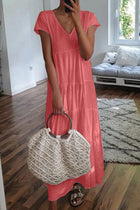 Vacation Style Pure Color Short Sleeve Maxi Dress