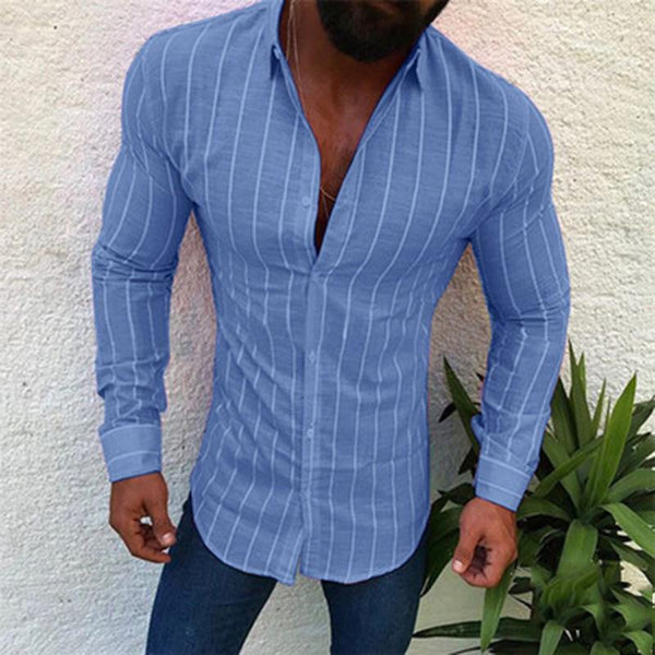 Striped Button Slim Lapel Long Sleeve Shirt