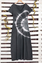 V-neck Gradient Print Short Sleeves Casual Maxi Dress