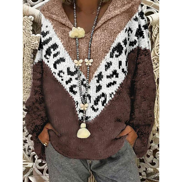 Leopard Plus Size Knitted Hooded Sweater