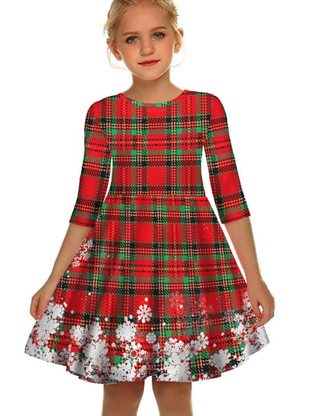 Kids Girls' Geometric Christmas Dress Black