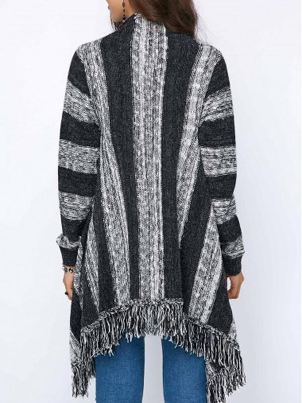 Fashion Knitting Tassels Striped Sweater