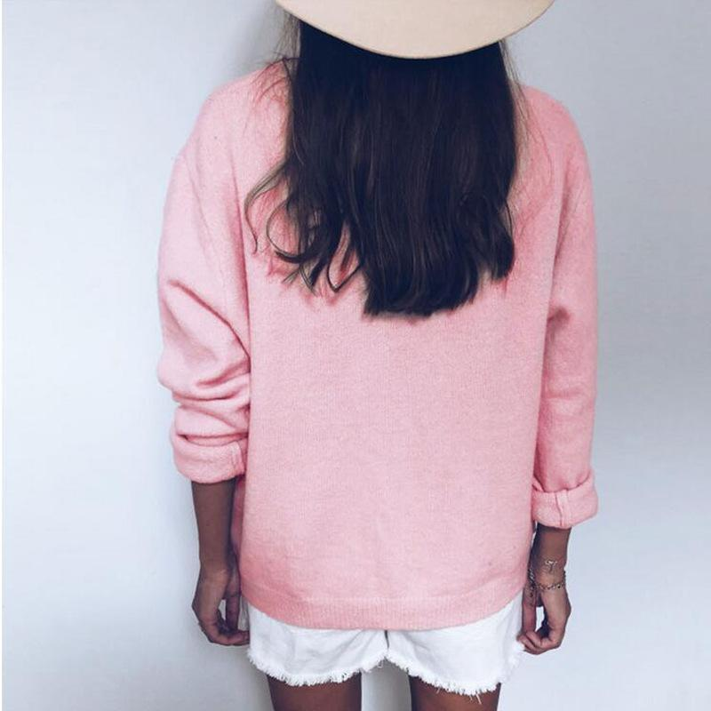 Women Buttoned Paneled V-Neck Casual Sweaters