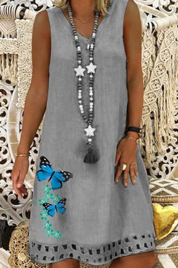 Paneled Sleeveless V-neck Butterfly Print Casual Midi Dress