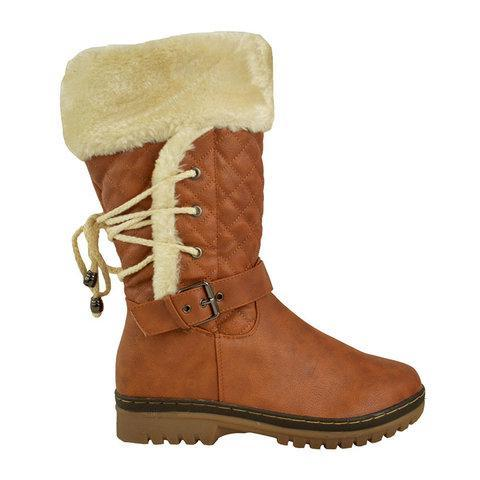 Women's Winter Furry Mid-Calf Snow Boots Plus Size Shoes