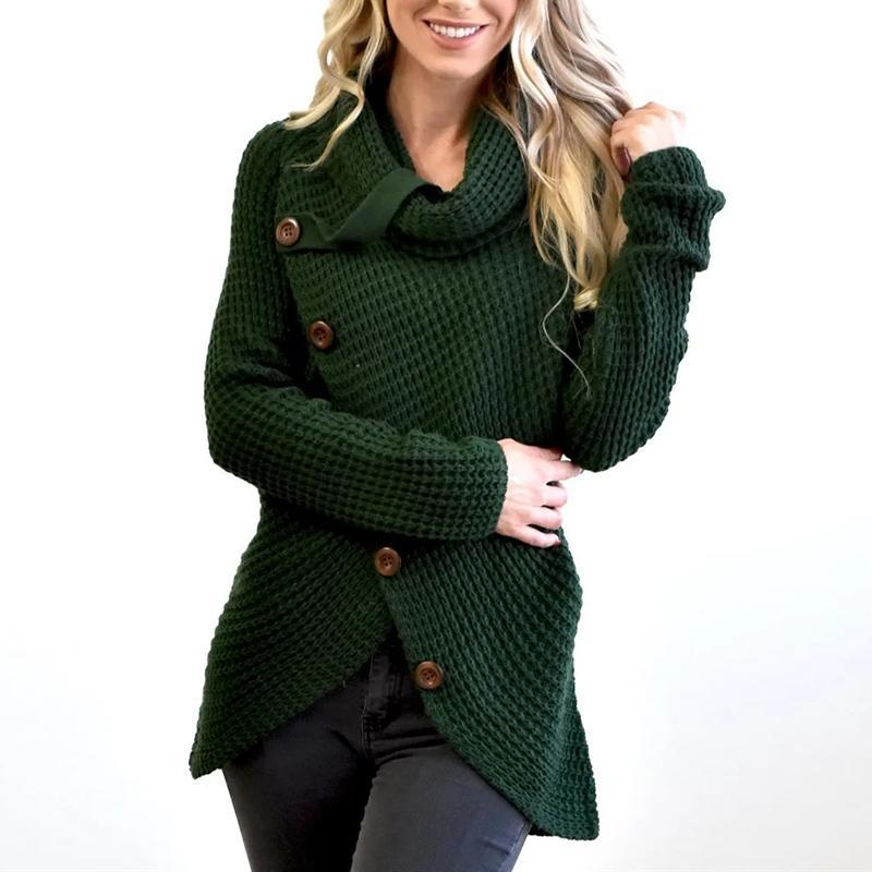 Buttoned Wrap Turtleneck Sweater