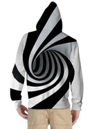 Kids Toddler Boys' Active Basic Black & White Fantastic Beasts Striped Geometric 3D Print Long Sleeve Hoodie & Sweatshirt White
