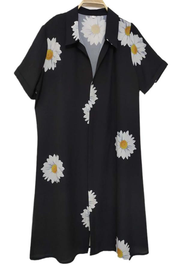 Casual Daisy Print Buttons Down Paneled Shirt Collar Midi Dress