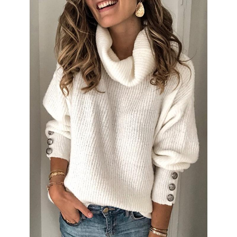 Solid Color Large Size High Collar Sweater
