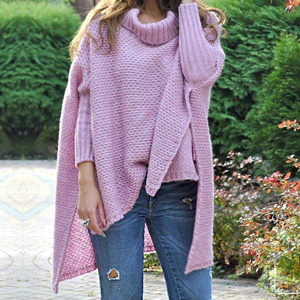 Irregular Solid Color High Neck Sweaters