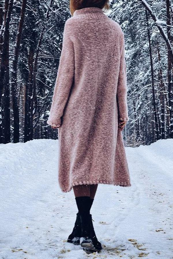 Long Sleeves Solid Knitted Shift Sweater Dress