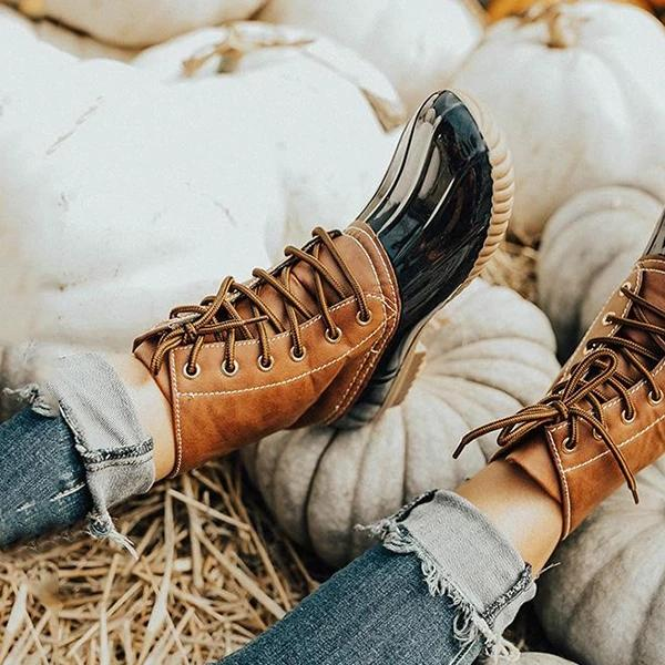 Women's Vintage Stitching Lace-Up Boots