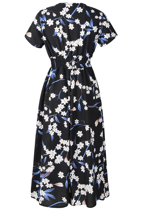 Elegant Floral Print Paneled V-neck A-line Midi Dress