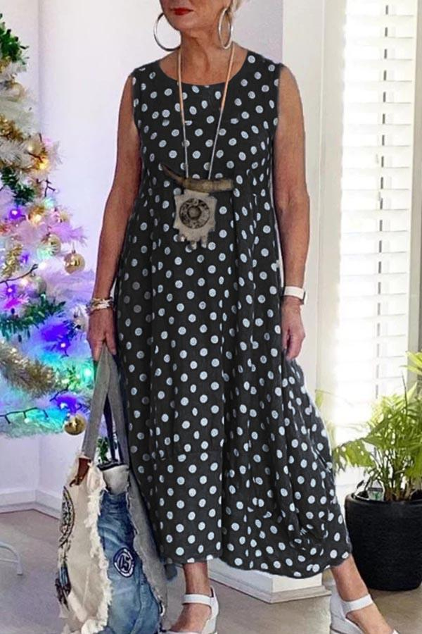 Polka Dots Print Sleeveless Paneled Holiday Midi Dress