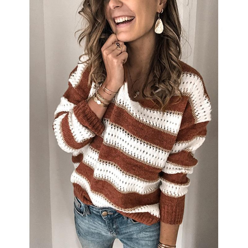Striped Color-Block Casual Sweaters