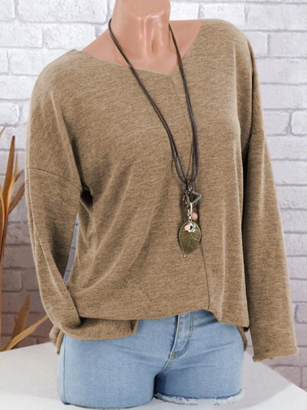 Pure Color V-neck Tops