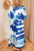 Plunging Neck Gradient Print Paneled Pleated Casual Maxi Dress
