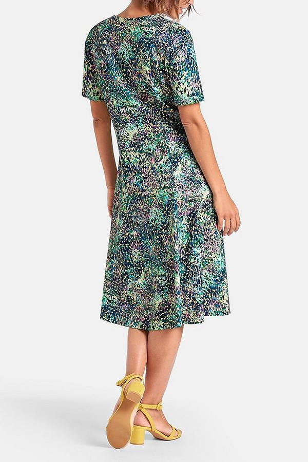 Vintage Print Buttoned V-neck Paneled Midi Dress