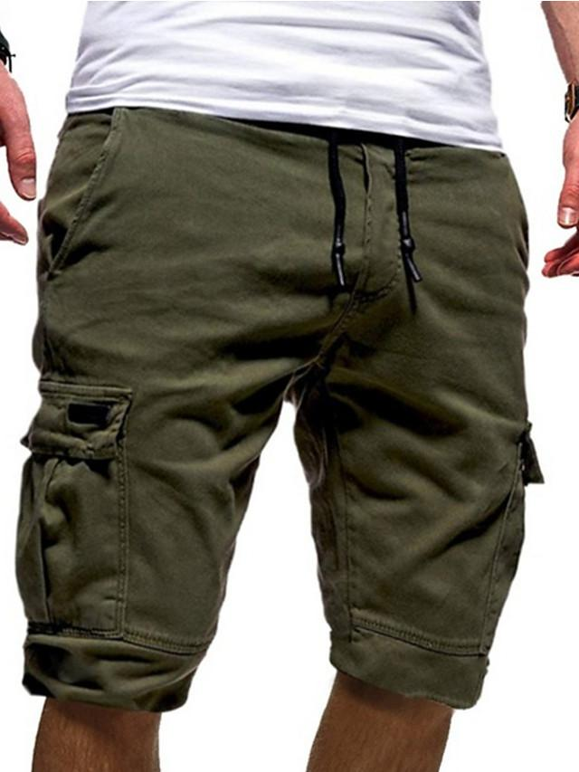 Men's Street chic Punk & Gothic Loose Cotton Shorts Tactical Cargo Pants - Solid Colored Sporty Drawstring White Black Army Green US34 / UK34 / EU42 / US36 / UK36 / EU44 / US38 / UK38 / EU46