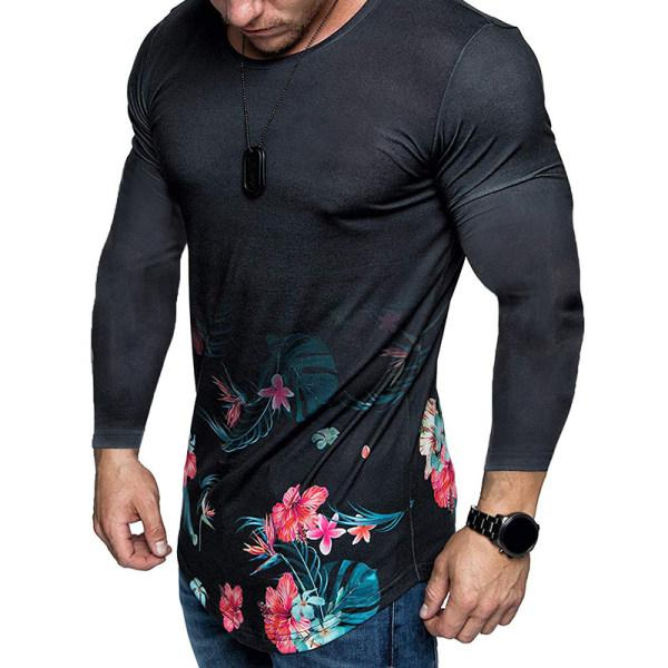 Men's Fashion Round Neck Long Sleeve Printed Color Shirt
