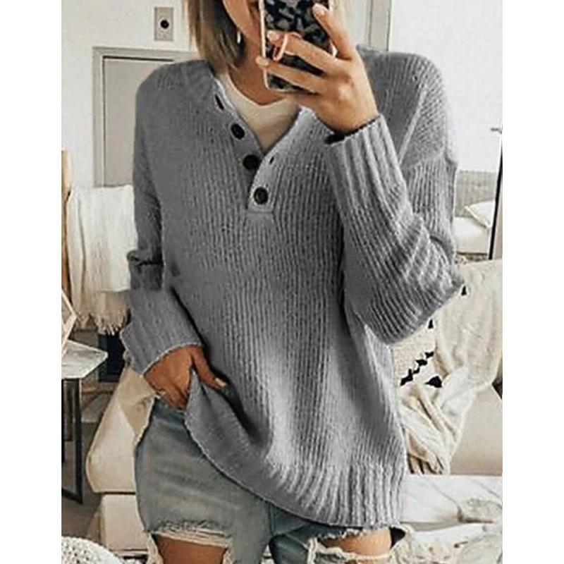 V-Neck Loose Solid Pullover Sweater