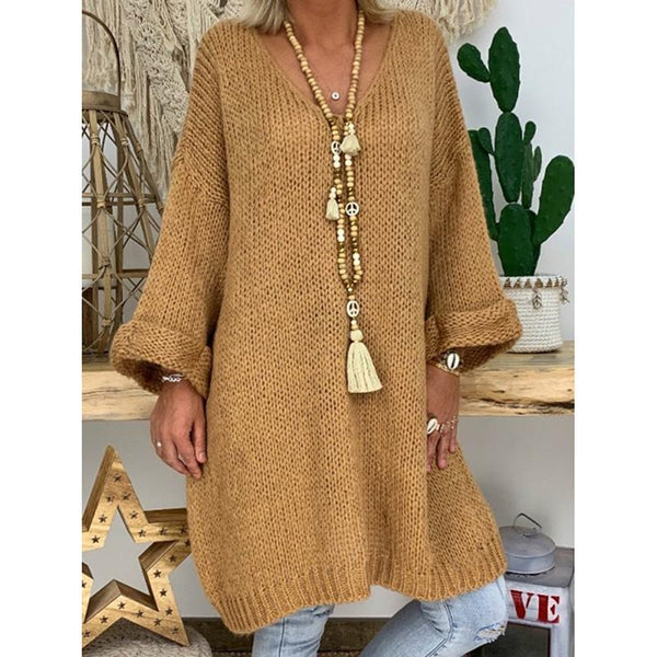 Drop Shoulder V-Neck Knitted Sweater Dresses
