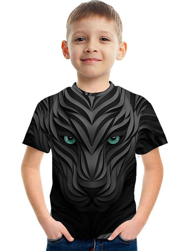 Kids Boys' Active Street chic Color Block 3D Print Short Sleeve Tee Black
