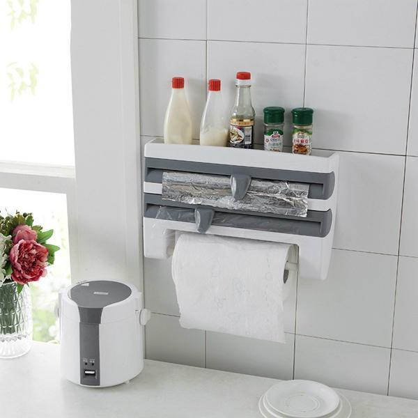 Cling Film Storage Rack Shelf Wrap Cutting Wall Hanging Roll Paper Towel Holder