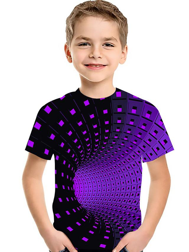 Kids Toddler Boys' Active Basic Geometric Print Color Block Print Short Sleeve Tee Purple
