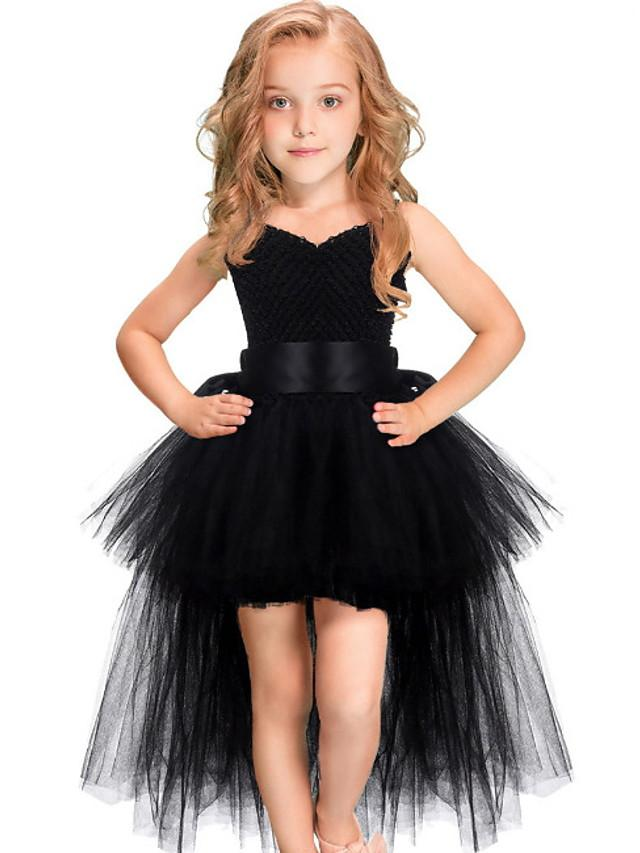 Kids Girls' Cute Solid Colored Dress Black / Cotton